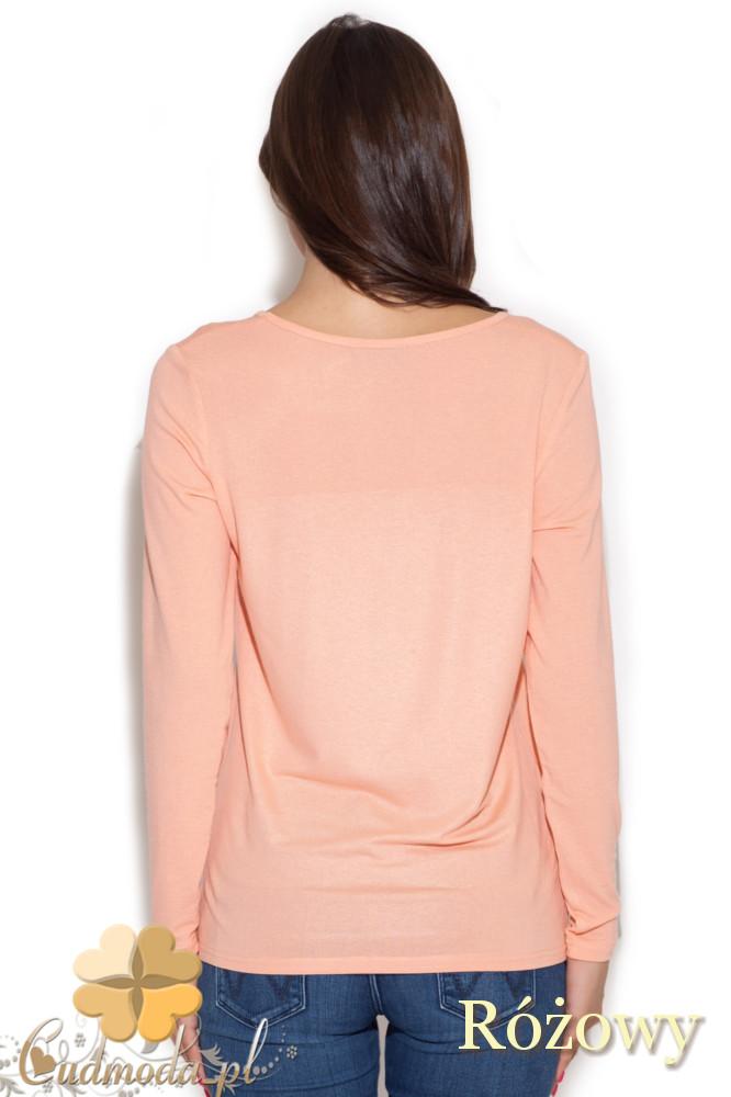 CM1049 Bluzka damska z nadrukiem długi rękaw - różowa