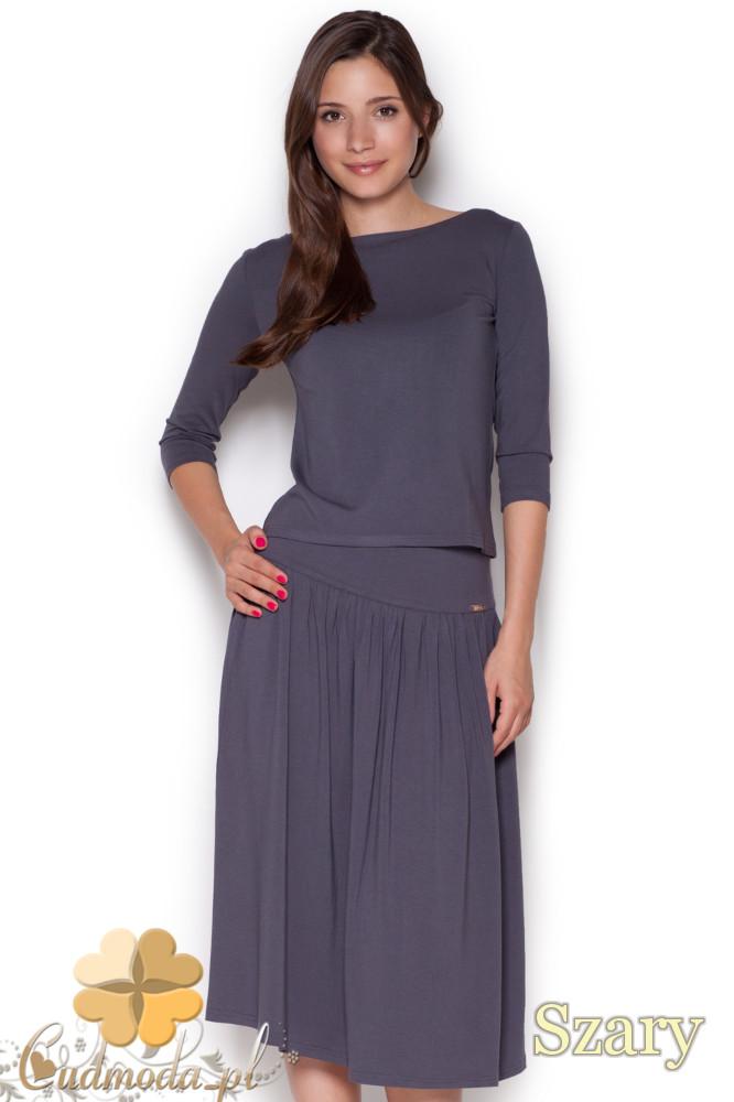CM1050 Komplet rozkloszowana spódnica midi + krótka bluzka z rękawem 3/4 - szary