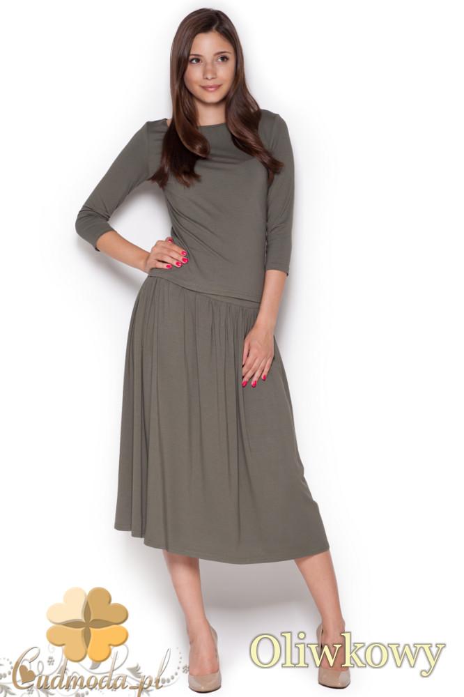 CM1050 Komplet rozkloszowana spódnica midi + krótka bluzka z rękawem 3/4 - oliwkowy