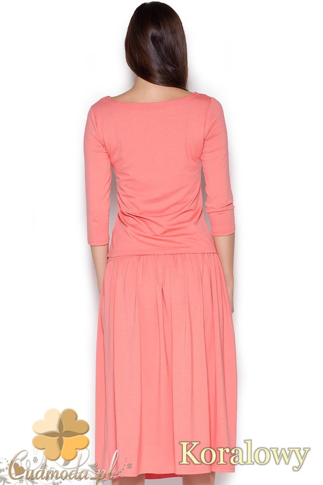 CM1050 Komplet rozkloszowana spódnica midi + krótka bluzka z rękawem 3/4 - koralowy