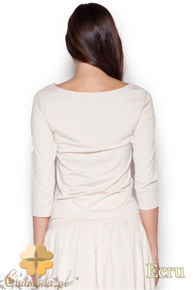 CM1050 Komplet rozkloszowana spódnica midi + krótka bluzka z rękawem 3/4 - ecru