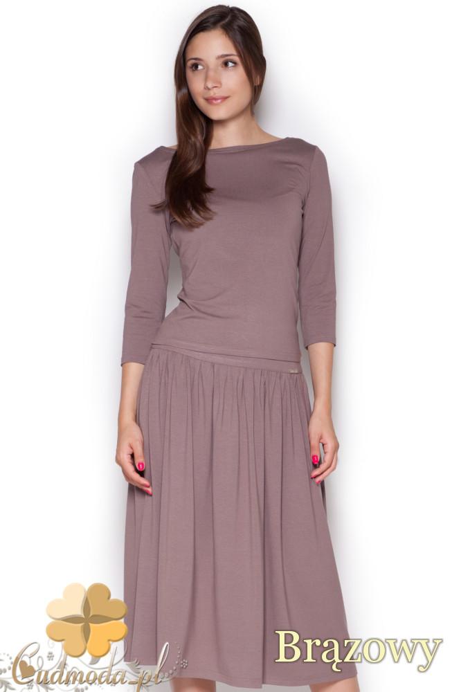 CM1050 Komplet rozkloszowana spódnica midi + krótka bluzka z rękawem 3/4 - brązowy