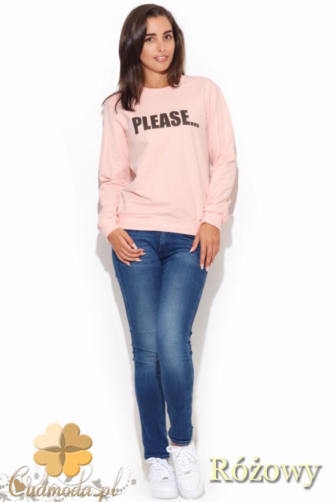 CM1055 Sportowa bluza damska z nadrukiem - różowa