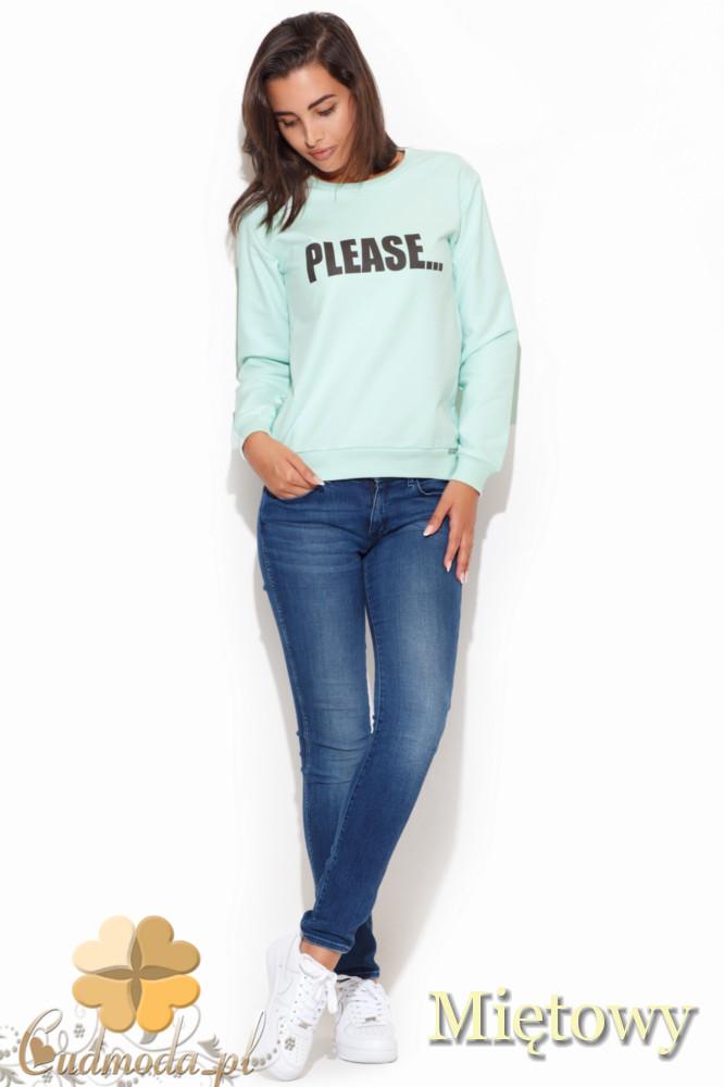 CM1055 Sportowa bluza damska z nadrukiem - miętowa