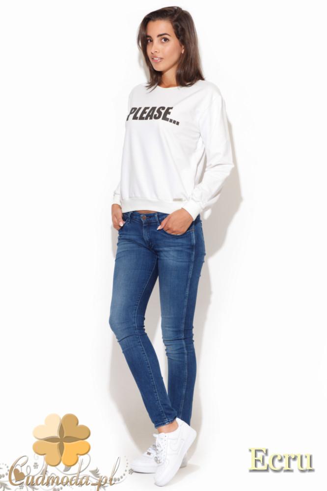 CM1055 Sportowa bluza damska z nadrukiem - ecru
