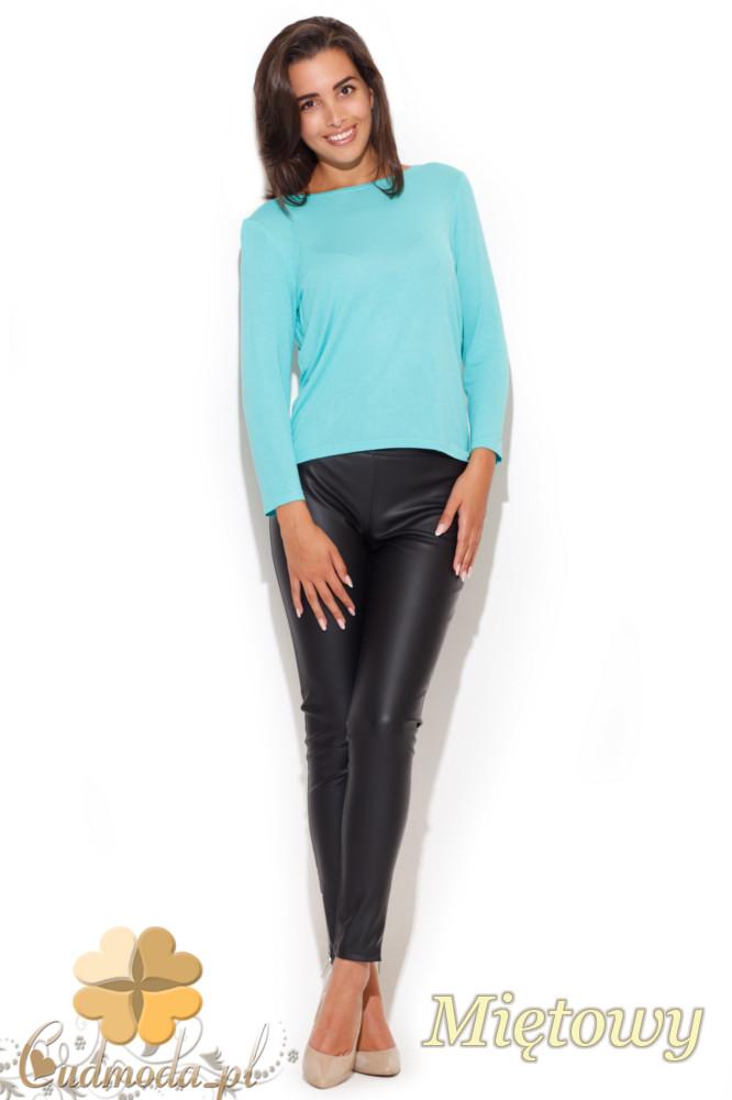 CM1057 Elegancka bluzka damska z kokardą - miętowa