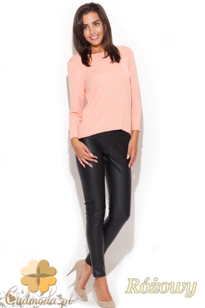CM1057 Elegancka bluzka damska z kokardą - różowa