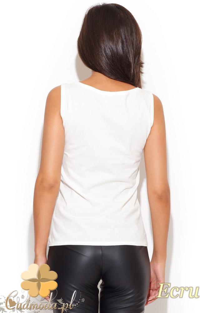 CM1059 Damski t-shirt bez rękawów z nadrukiem - ecru