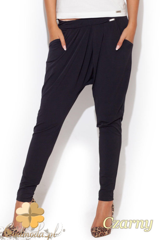 CM1063 Długie spodnie alladyny na gumie - czarne