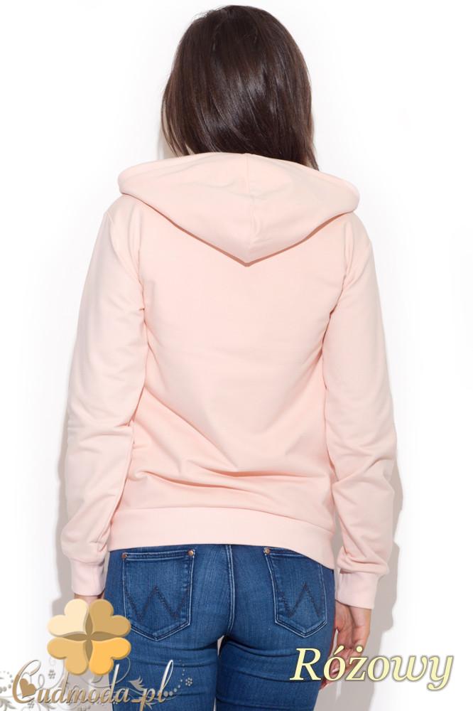 CM1064 Sportowa bluza z kapturem - różowa