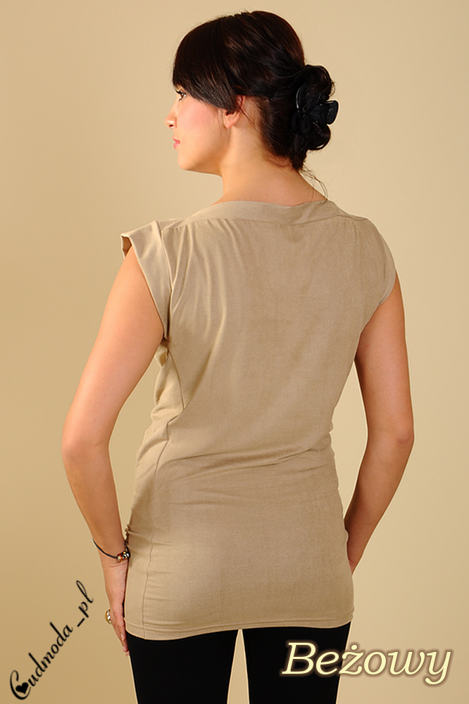 CM0116 Zamszowa bluzka nietoperz mini rękawek - beżowa