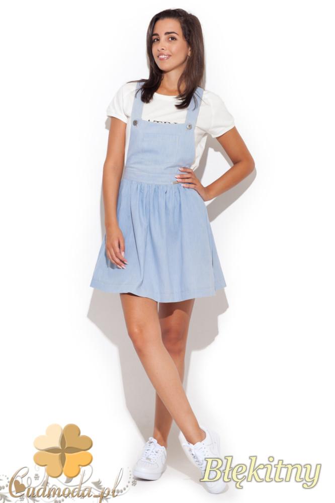 CM1068 Sukienka ogrodniczka mini na szelkach - błękitna