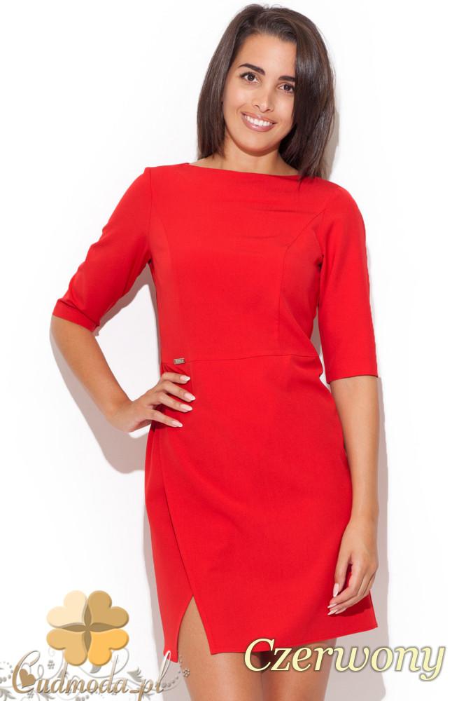 CM1069 Elegancka dopasowana sukienka mini - czerwona