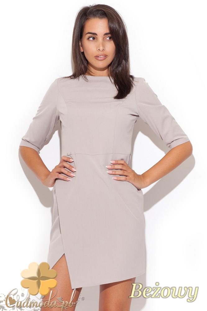 CM1069 Elegancka dopasowana sukienka mini - beżowa