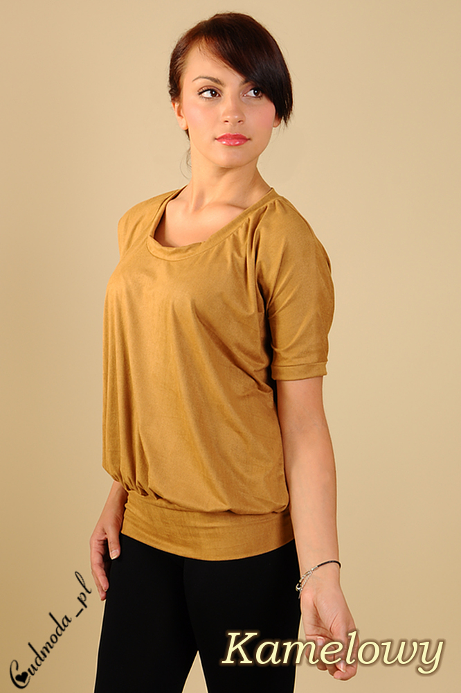 CM0115 Włoska zamszowa bluzka nietoperz - kamelowa