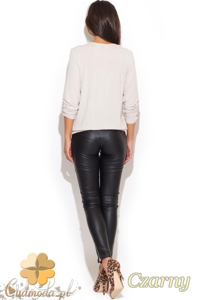 CM1070 Dopasowane damskie spodnie rurki - czarne