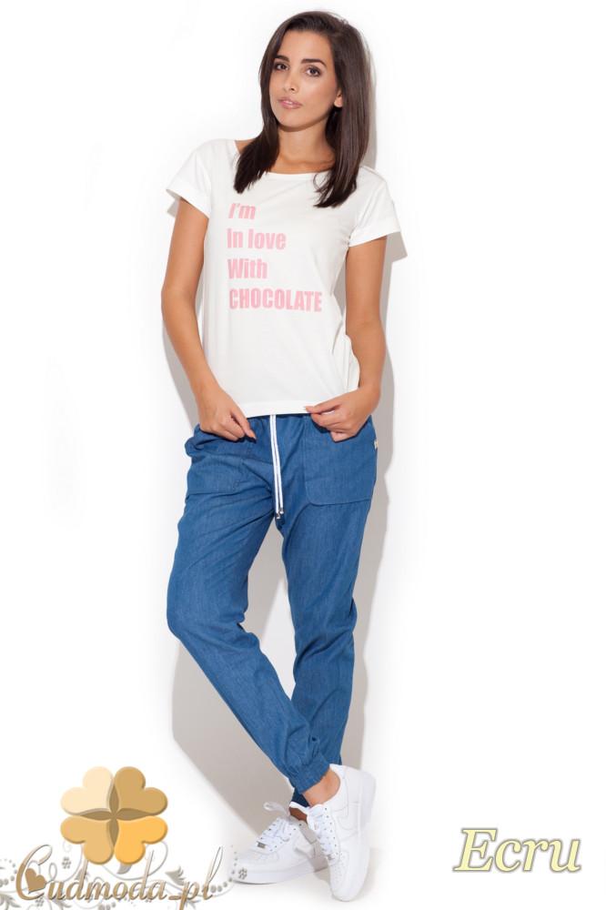 CM1074 Kobiecy t-shirt z krótkim rękawem - ecru