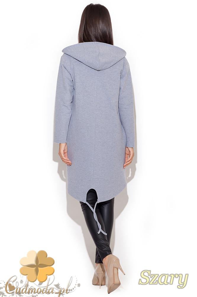CM1076 Damski kardigan - bluza z kapturem - szary