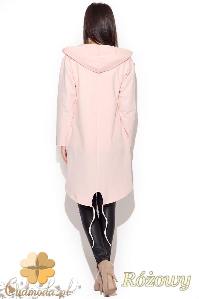 CM1076 Damski kardigan - bluza z kapturem - różowy