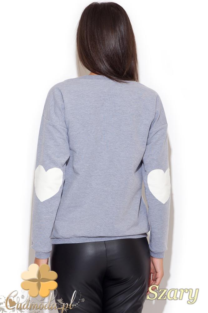 CM1080 Sportowa bluza kobieca odkryte ramię - szara