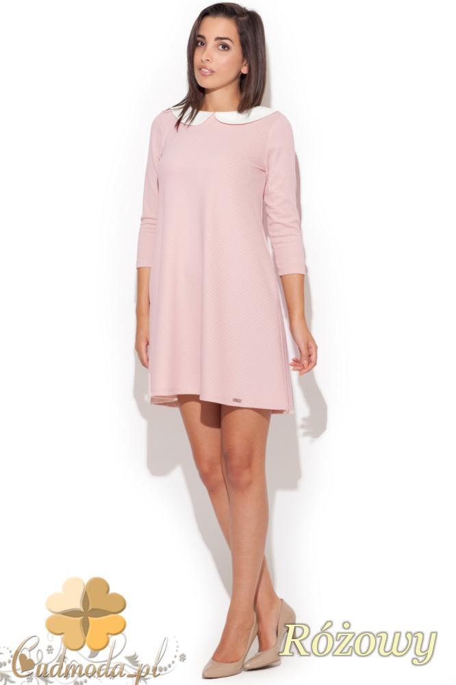 CM1082 Rozkloszowana pikowana sukienka mini z kołnierzykiem - różowa