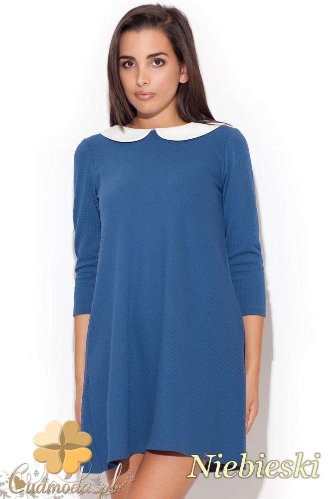 CM1082 Rozkloszowana pikowana sukienka mini z kołnierzykiem - niebieska