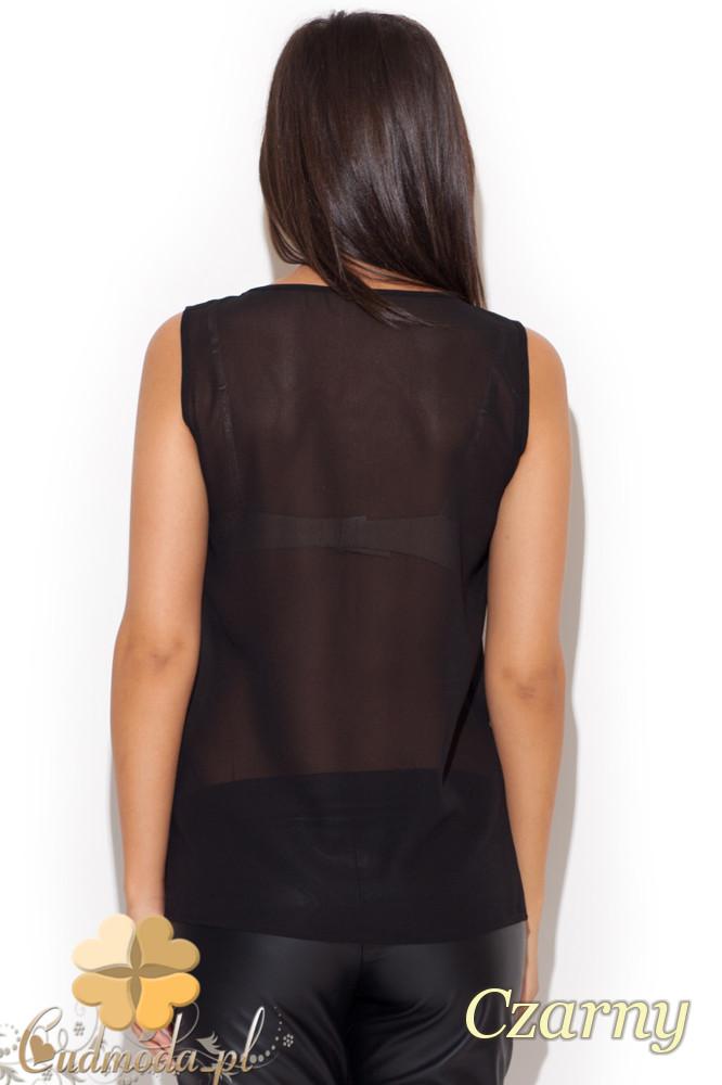 CM1083 Przezroczysta bluzka z dekoltem - czarna