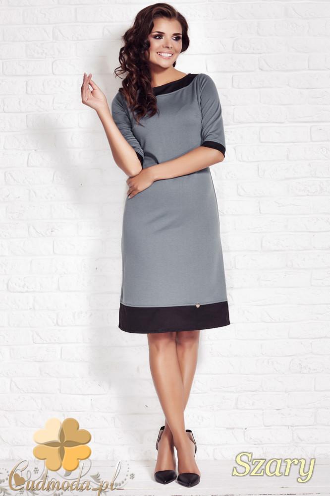 CM1124 Elegancka sukienka midi krótki rękaw - szara