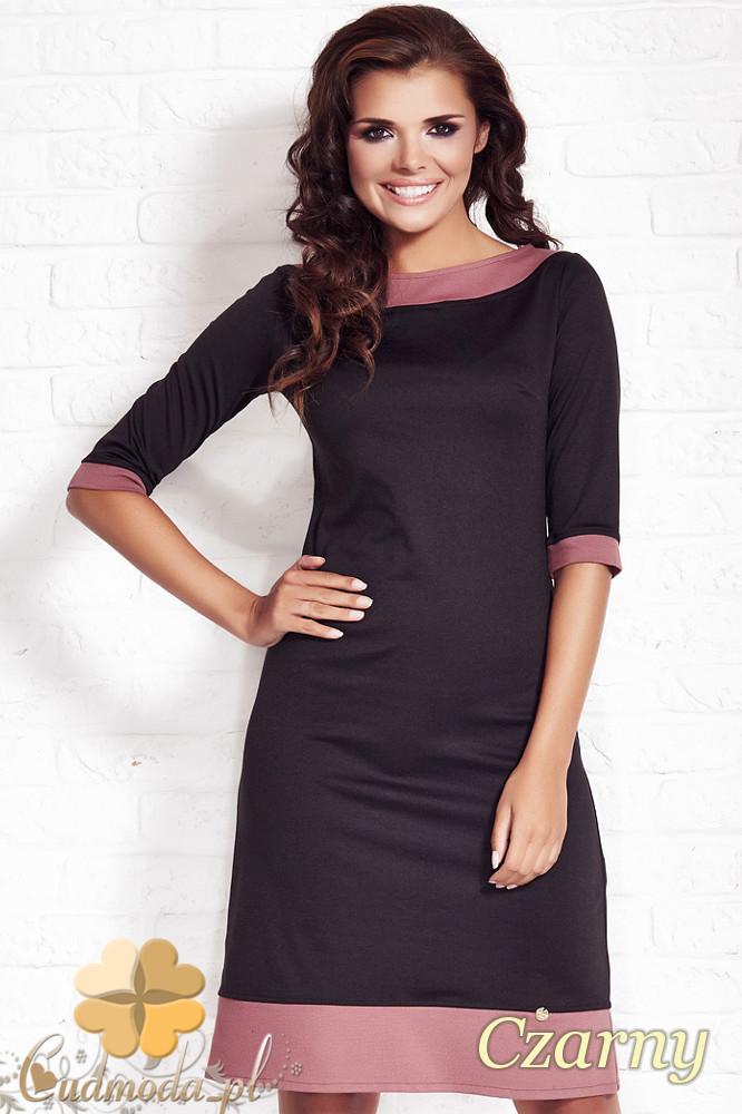 CM1124 Elegancka sukienka midi krótki rękaw - czarna