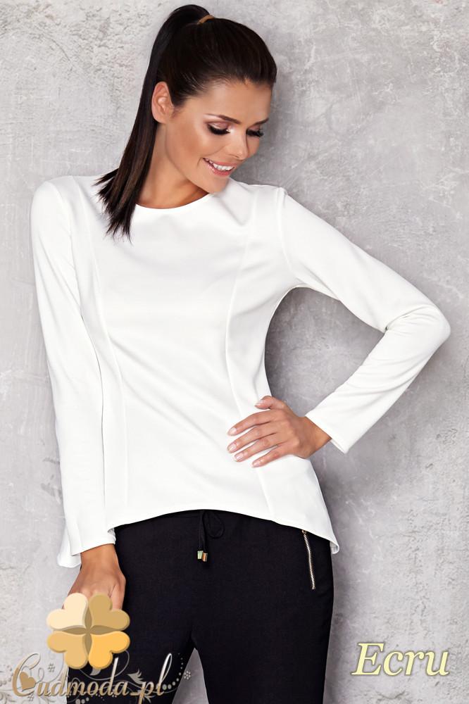 CM1127 Asymetryczna taliowana bluzka z długim rękawem - ecru