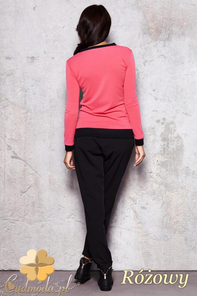 CM1128 Kobieca bluza zapinana na zamek - różowa