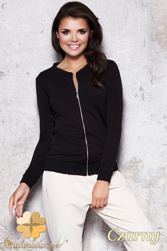 CM1128 Kobieca bluza zapinana na zamek - czarna