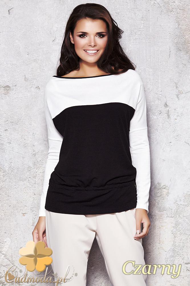 CM1129 Bluzka damska z opadającym ramieniem - czarna