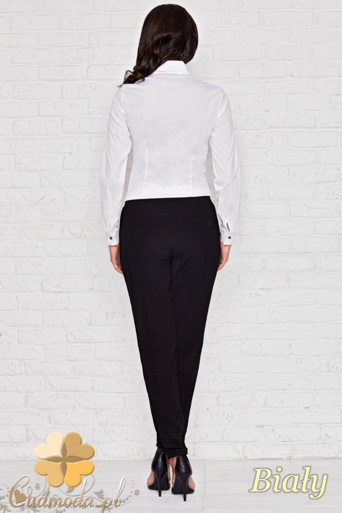 CM1134 Elegancka damska koszula z plisami - biała