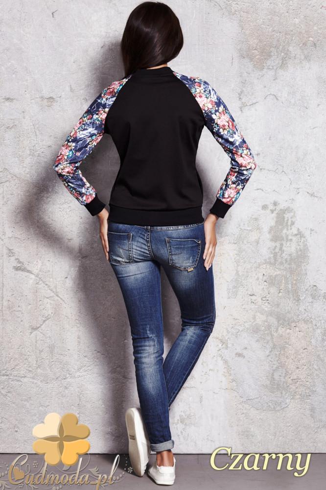 CM1135 Rozsuwana kurtka damska w kwiaty - czarna