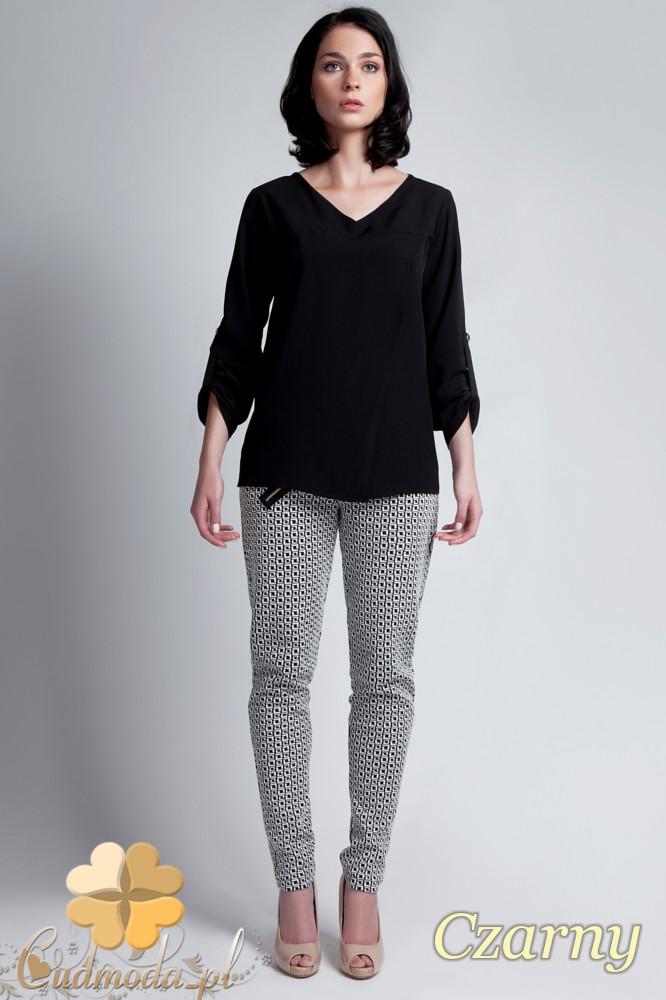 CM1141 Elegancka kopertowa bluzka kobieca - czarna
