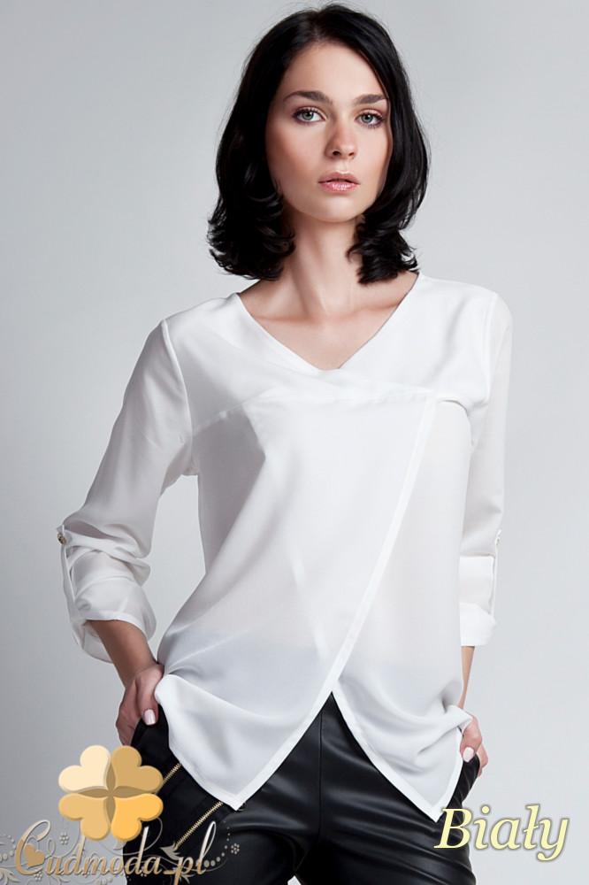 CM1141 Elegancka kopertowa bluzka kobieca - biała