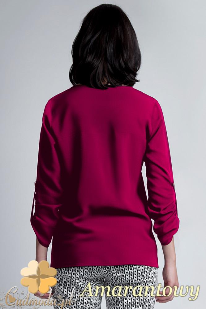 CM1141 Elegancka kopertowa bluzka kobieca - amarantowa