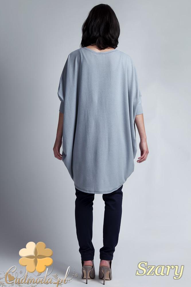 CM1142 Damski sweter kimono oversize - szary