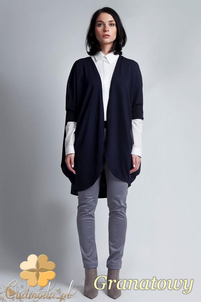 CM1142 Damski sweter kimono oversize - granatowy