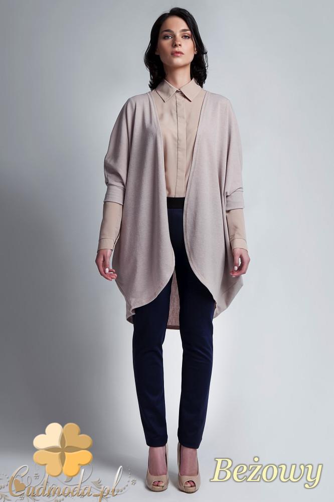 CM1142 Damski sweter kimono oversize - beżowy