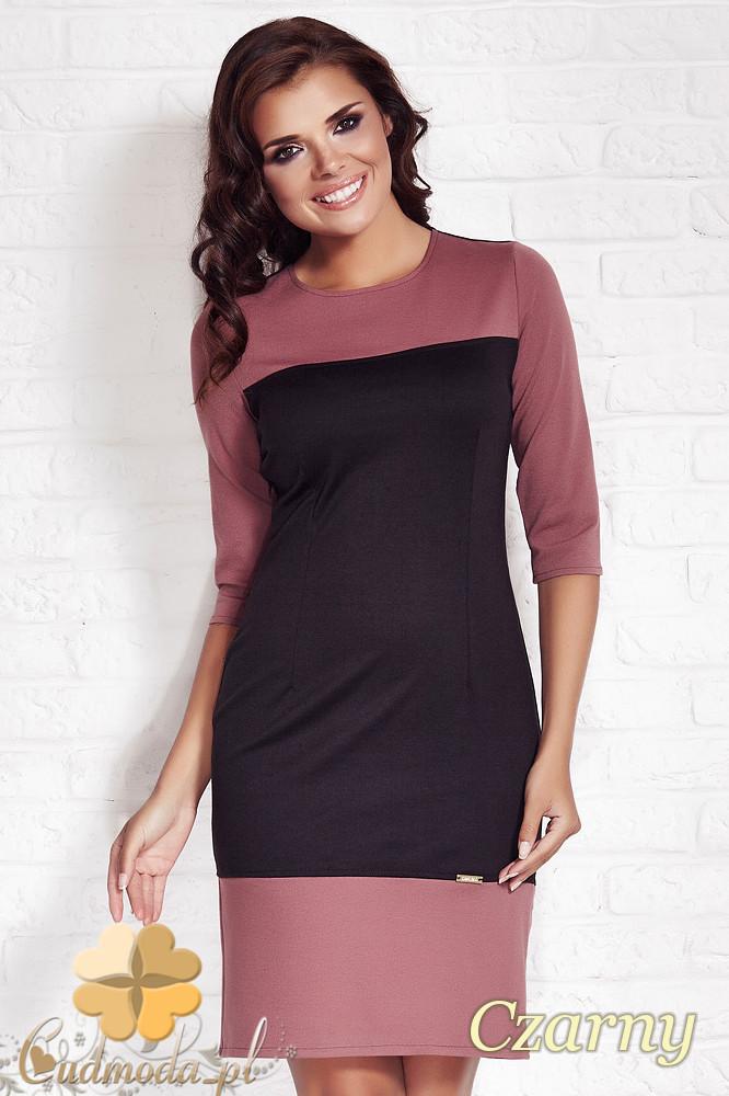 CM1143 Elegancka dopasowana sukienka z rękawem 3/4 - czarna