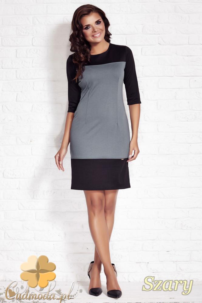 CM1143 Elegancka dopasowana sukienka z rękawem 3/4 - szara