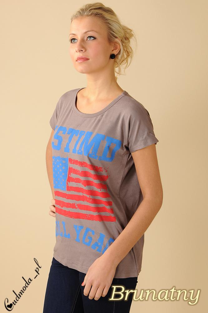 CM0100 Koszulka bluzka nietoperz flaga USA - brunatna