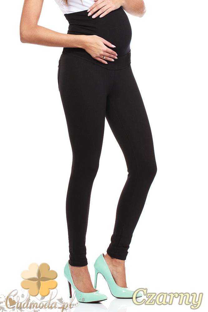 CM2043 Ocieplane legginsy ciążowe z rozciągliwym pasem - czarne