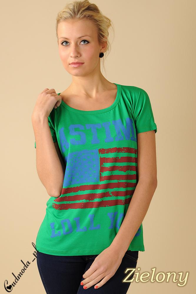 CM0100 Koszulka bluzka nietoperz flaga USA - zielona