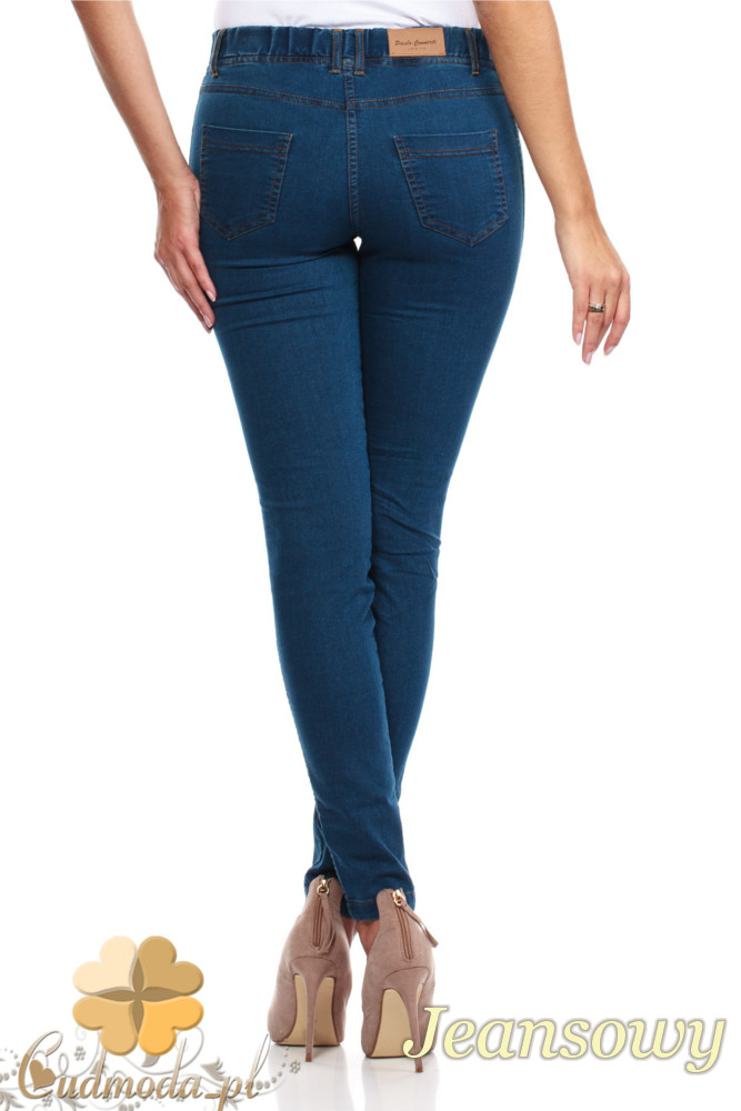 CM0132 Legginsy jeans z kieszeniami - jeansowe