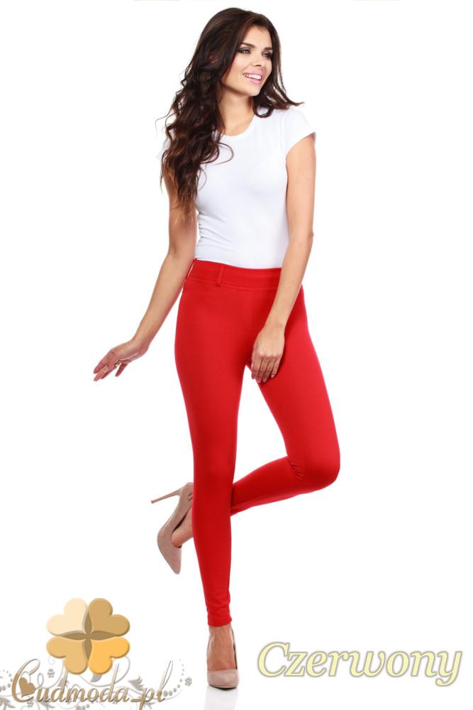 CM0034 Włoskie klasyczne getry legginsy z kieszeniami - czerwone