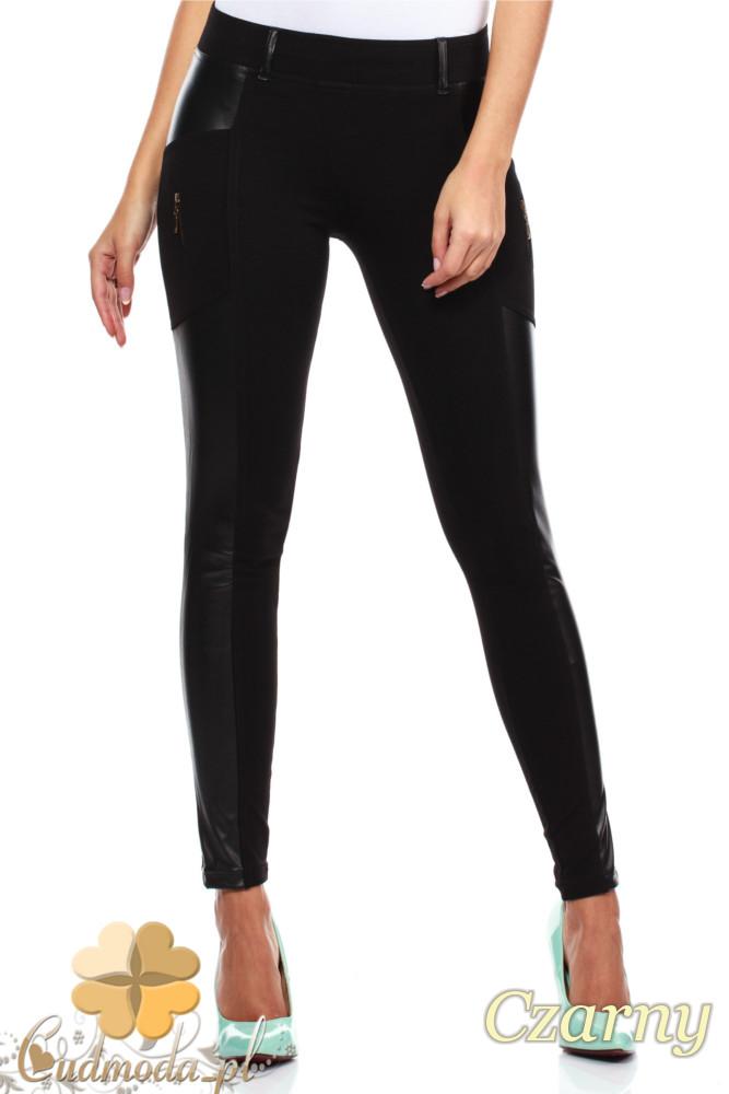 CM0301 Legginsy spodnie z zameczkami i wstawką ze skóry - czarne