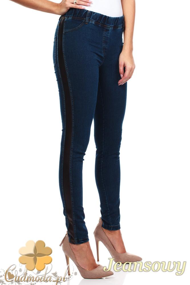 CM1021 Jeansowe legginsy ze skórzanym lampasem